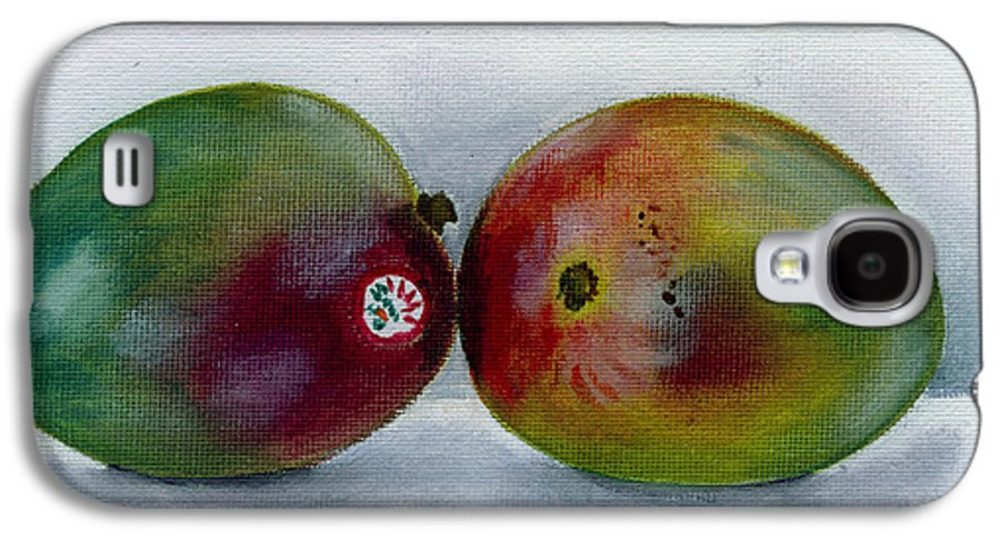 Still-life Galaxy S4 Case featuring the painting Two Mangoes by Sarah Lynch