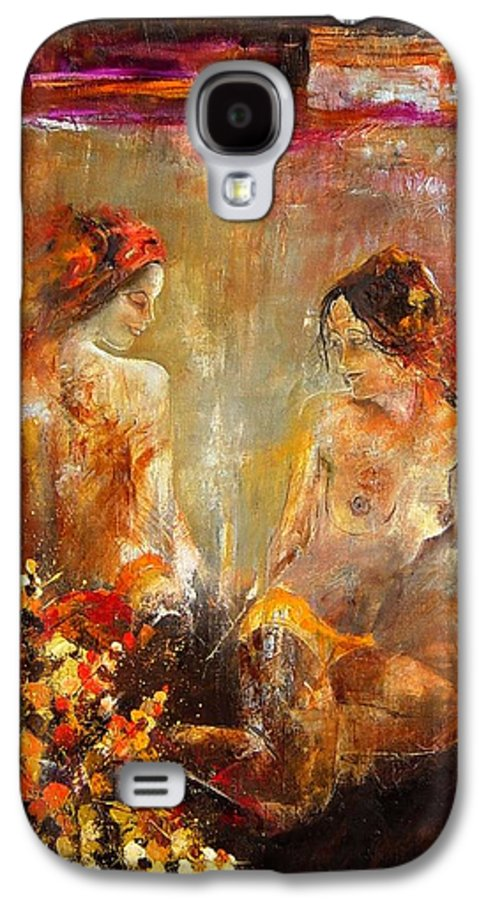 Girl Nude Galaxy S4 Case featuring the painting Two Nudes by Pol Ledent