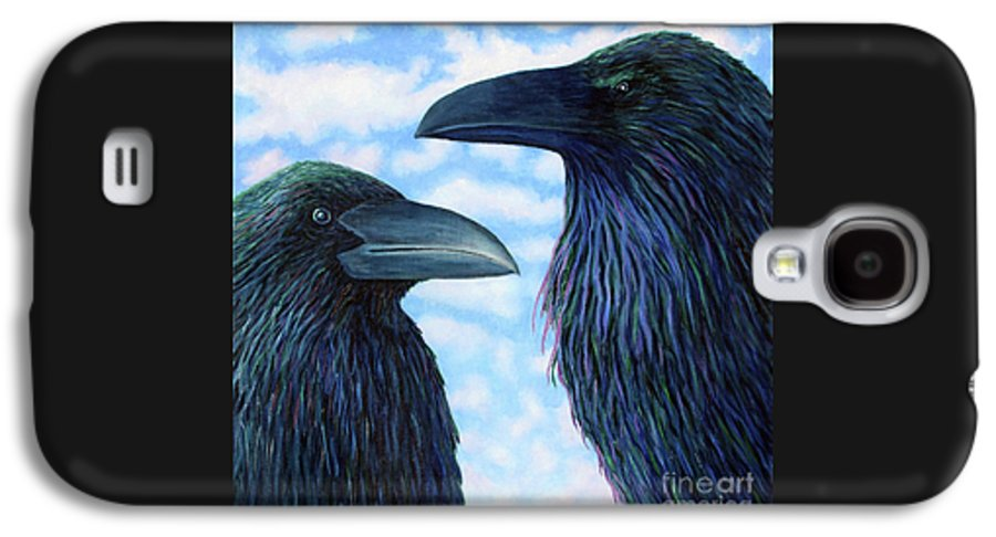 Raven Galaxy S4 Case featuring the painting Two Ravens by Brian Commerford