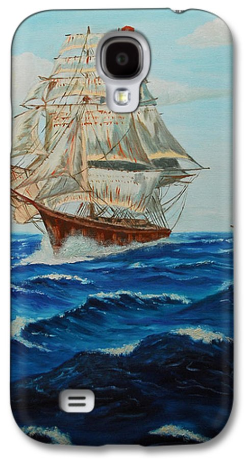 Ship Galaxy S4 Case featuring the painting Two Ships Sailing by Quwatha Valentine