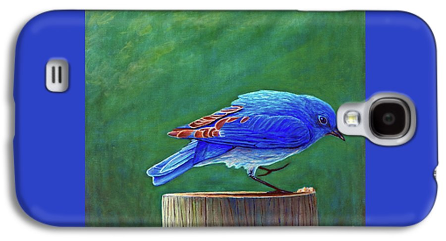 Bluebird Galaxy S4 Case featuring the painting Two Step by Brian Commerford