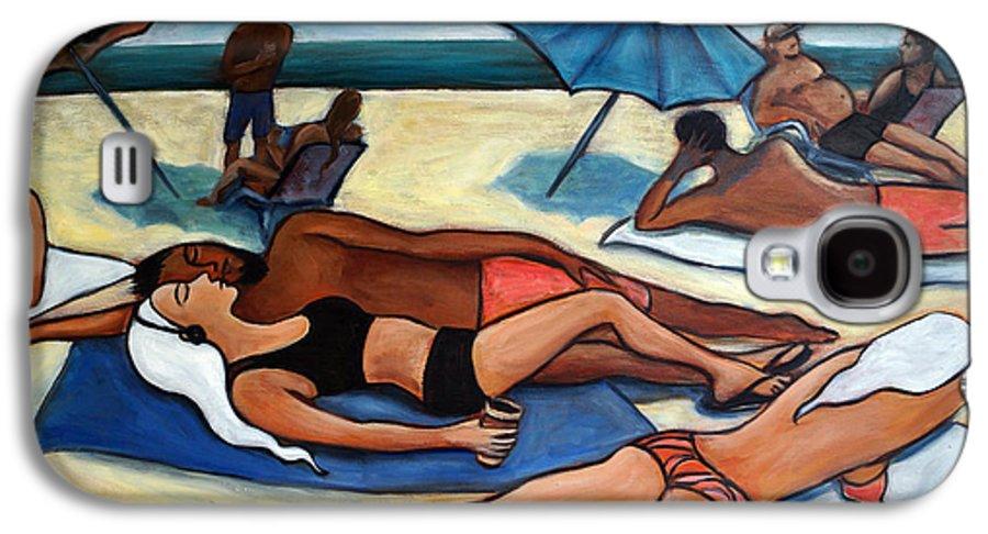 Beach Scene Galaxy S4 Case featuring the painting Un Journee A La Plage by Valerie Vescovi