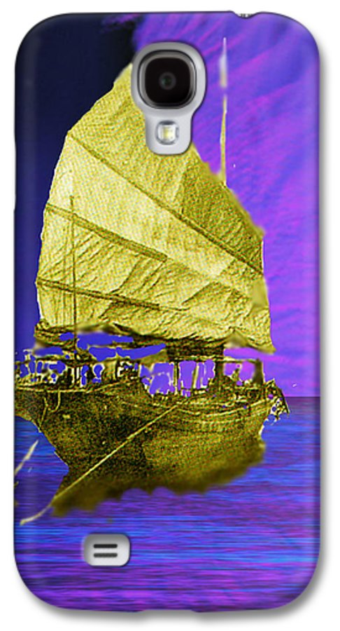Nautical Galaxy S4 Case featuring the digital art Under Golden Sails by Seth Weaver