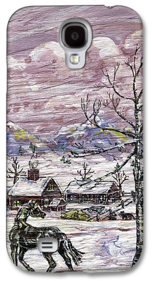 Snow Scene Galaxy S4 Case featuring the painting Unexpected Guest II by Phyllis Mae Richardson Fisher
