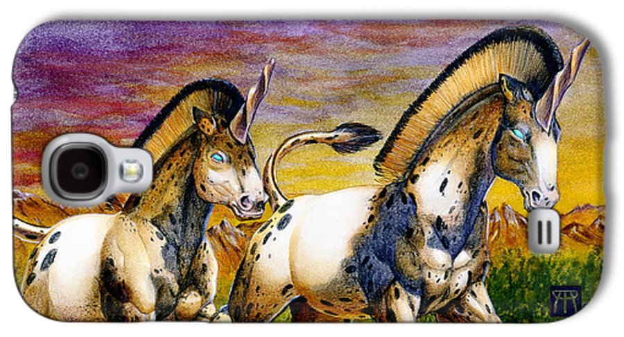 Artwork Galaxy S4 Case featuring the painting Unicorns In Sunset by Melissa A Benson