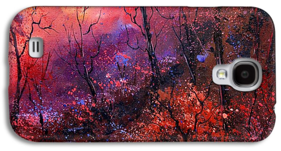 Wood Sunset Tree Galaxy S4 Case featuring the painting Unset In The Wood by Pol Ledent