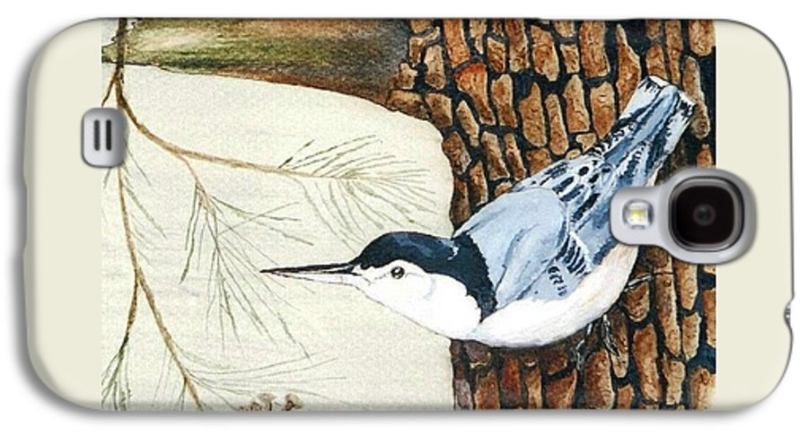 Nuthatch Galaxy S4 Case featuring the painting Upside Down by Debra Sandstrom