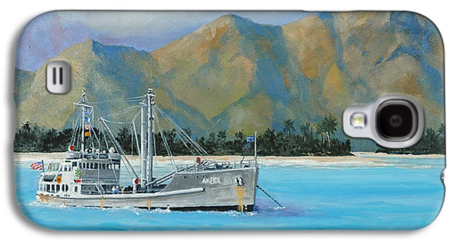 Seascape Galaxy S4 Case featuring the painting Uss Reluctant Anchored Off Ennui by Glenn Secrest