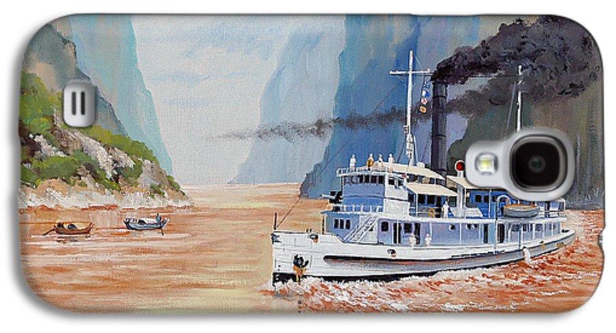 the Sand Pebbles Galaxy S4 Case featuring the painting Uss San Pablo On Yangtze River Patrol by Glenn Secrest