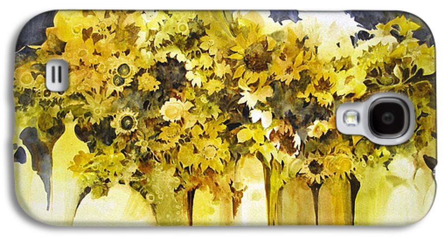 Yellow Flowers;sunflowers;vases;floral;contemporary Floral; Galaxy S4 Case featuring the painting Vases Full Of Blooms  by Lois Mountz