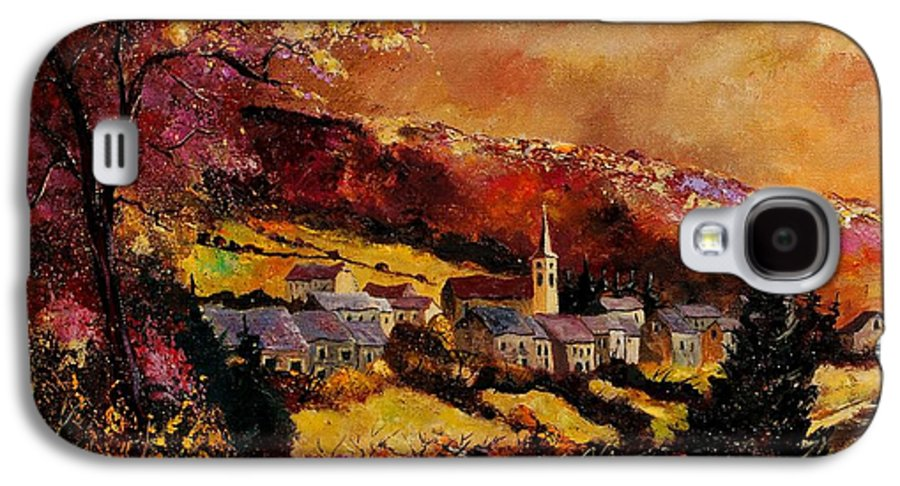 River Galaxy S4 Case featuring the painting Vencimont Village Ardennes by Pol Ledent