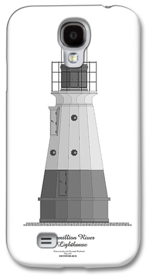 Lighthouse Galaxy S4 Case featuring the painting Vermillion River Lighthouse Architectural Rendering by Anne Norskog