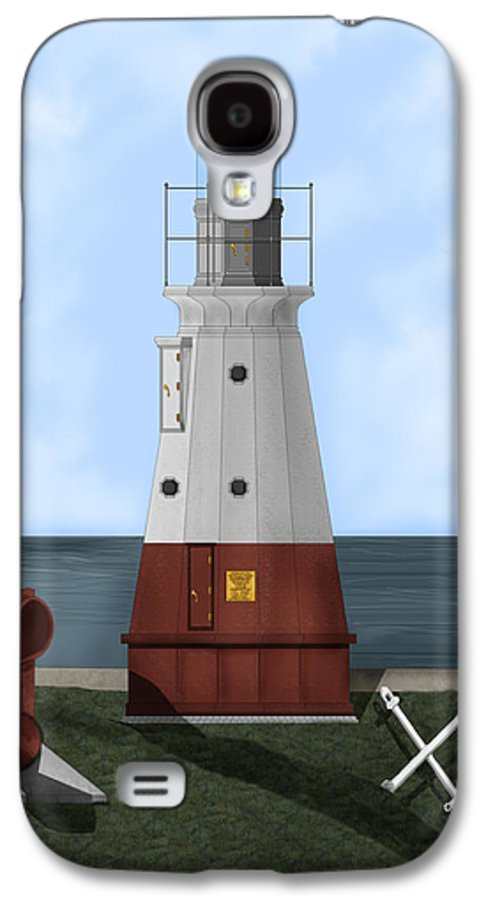 Lighthouse Galaxy S4 Case featuring the painting Vermillion River Lighthouse On Lake Erie by Anne Norskog