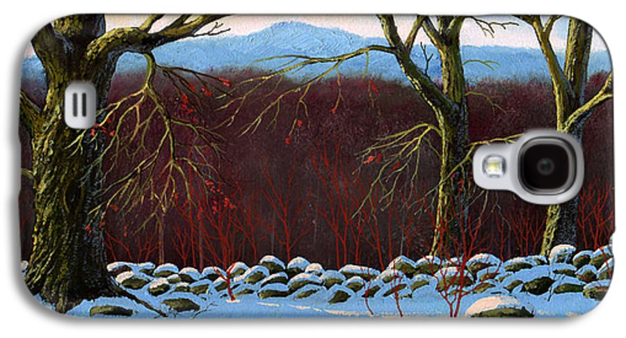 Landscape Galaxy S4 Case featuring the painting Vermont Stone Wall by Frank Wilson