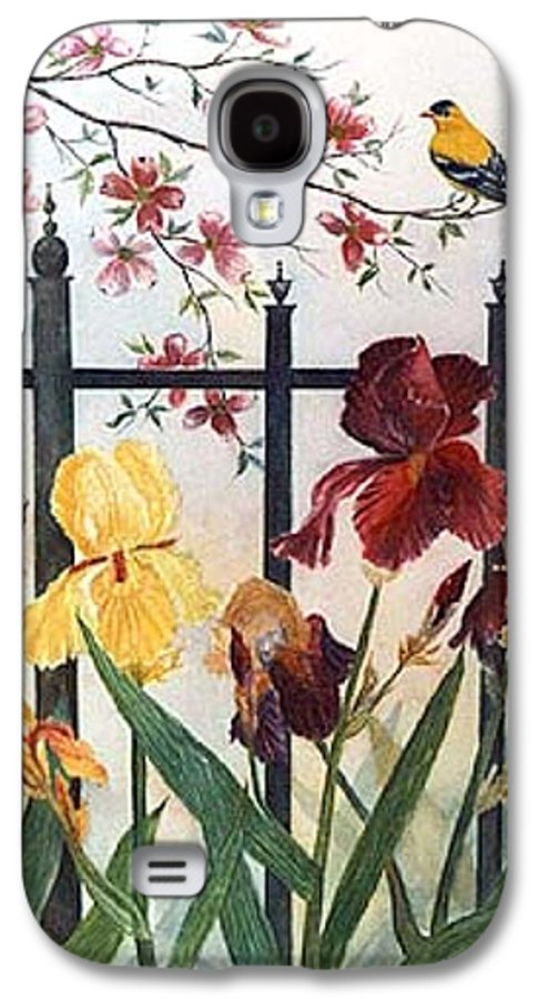 Irises; American Goldfinch; Dogwood Tree Galaxy S4 Case featuring the painting Victorian Garden by Ben Kiger