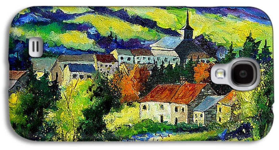 Landscape Galaxy S4 Case featuring the painting Village And Blue Poppies by Pol Ledent