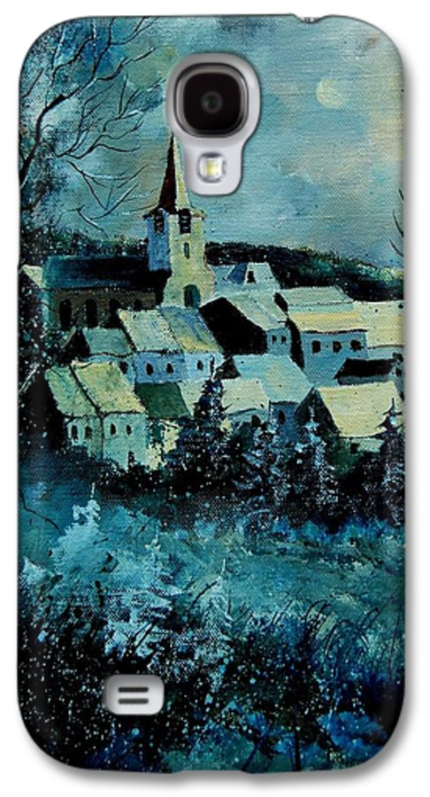 River Galaxy S4 Case featuring the painting Village In Winter by Pol Ledent