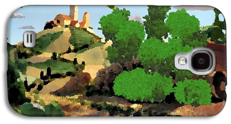 Village Old Road.trees.bushes.hill.littlt Tower.houses.farm.sky.clouds Galaxy S4 Case featuring the digital art Village. Tower On The Hill by Dr Loifer Vladimir