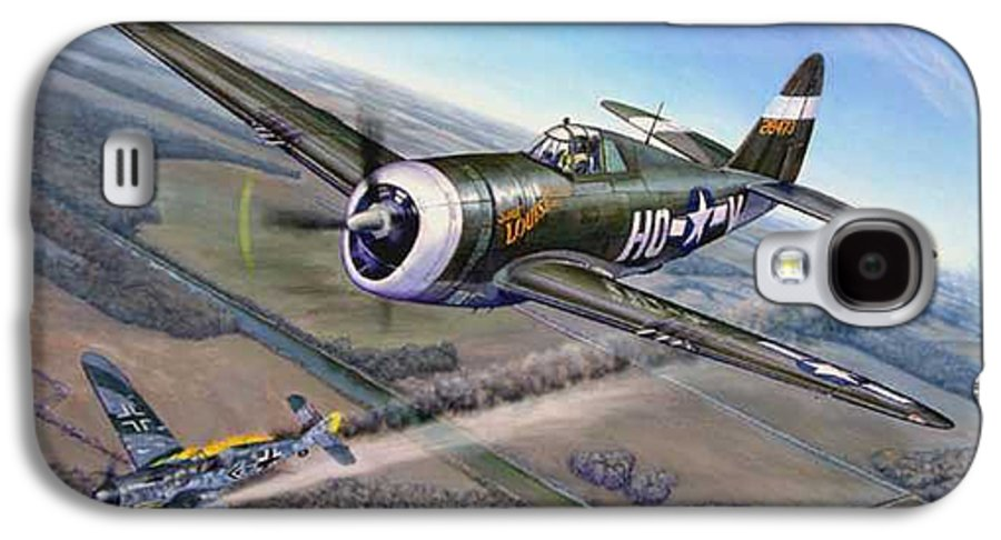 The 352nd Fighter Groups First Ace Shoots Down The German Ace Klaus Mietush On March 8th 1944 Galaxy S4 Case featuring the painting Virgil Meroney Downs Klaus Mietush by Scott Robertson