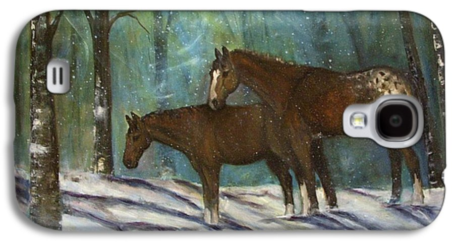 Horses Galaxy S4 Case featuring the painting Waiting For Spring by Darla Joy Johnson