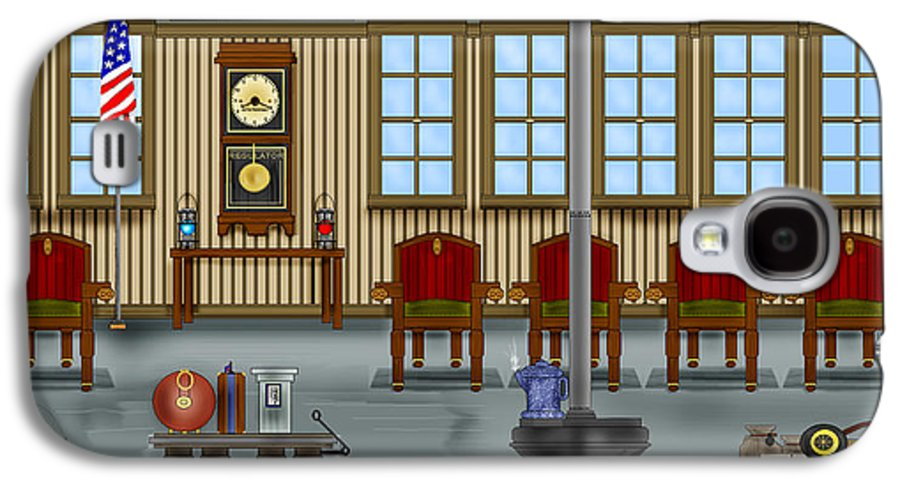 Realism Galaxy S4 Case featuring the painting Waiting Room At The Depot by Anne Norskog
