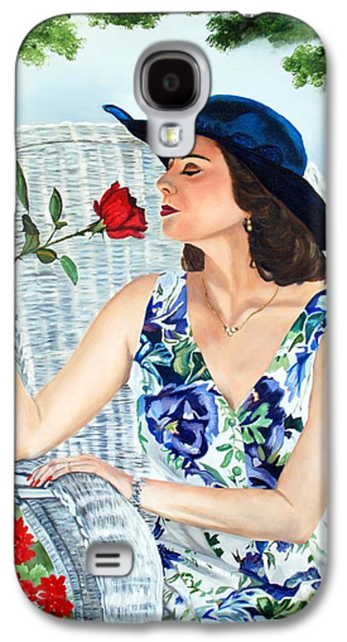 Woman Galaxy S4 Case featuring the painting Wake Up And Smell The Rose by Margaret Fortunato