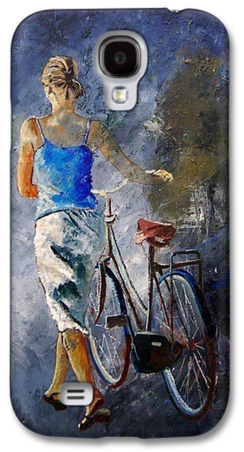 Girl Galaxy S4 Case featuring the painting Waking Aside Her Bike 68 by Pol Ledent