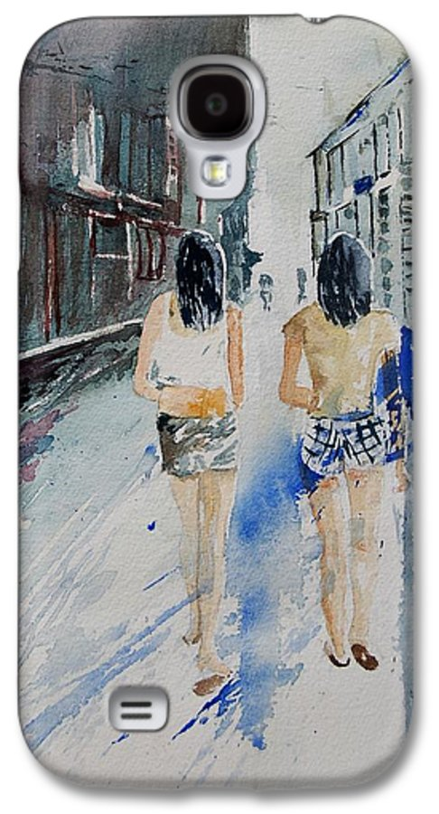 Girl Galaxy S4 Case featuring the painting Walking In The Street by Pol Ledent