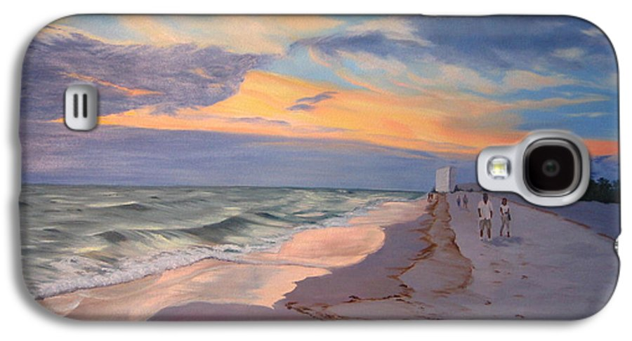 Seascape Galaxy S4 Case featuring the painting Walking On The Beach At Sunset by Lea Novak