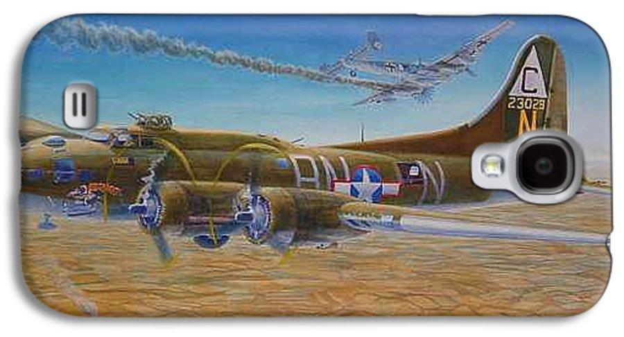 B-17 wallaroo Over Schwienfurt Galaxy S4 Case featuring the painting Wallaroo At Schwienfurt by Scott Robertson