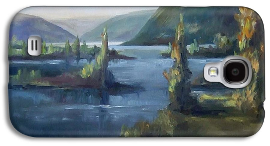 Landscape Water Mountains Trees Fall Sky Galaxy S4 Case featuring the painting Wallula Gap October by Ruth Stromswold