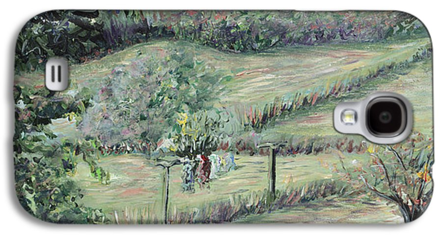 Landscape Galaxy S4 Case featuring the painting Washday In Provence by Nadine Rippelmeyer