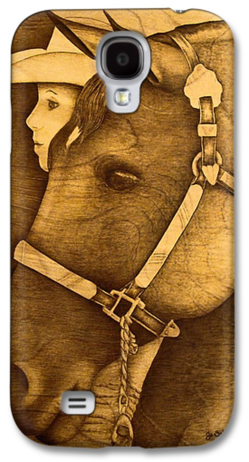 Pyrography;wood Burning; Horse; Western; Halter;cowboy; Hat; Rodeo; Galaxy S4 Case featuring the pyrography Watching The Competition by Jo Schwartz