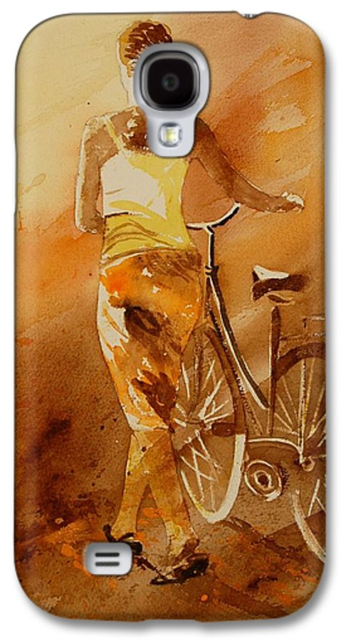 Figurative Galaxy S4 Case featuring the painting Watercolor With My Bike by Pol Ledent