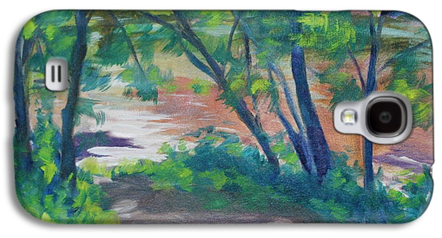 Landscape Galaxy S4 Case featuring the painting Watercress Beach On The Current River  by Jan Bennicoff