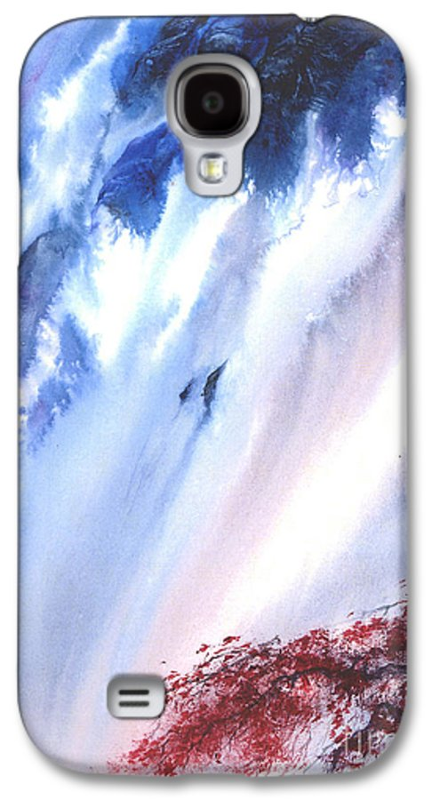 A Waterfall- A Watercolor Painting Galaxy S4 Case featuring the painting Waterfall by Mui-Joo Wee