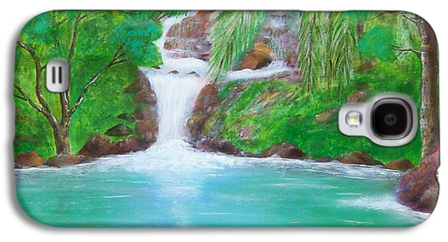 Waterfall Galaxy S4 Case featuring the painting Waterfall by Tony Rodriguez