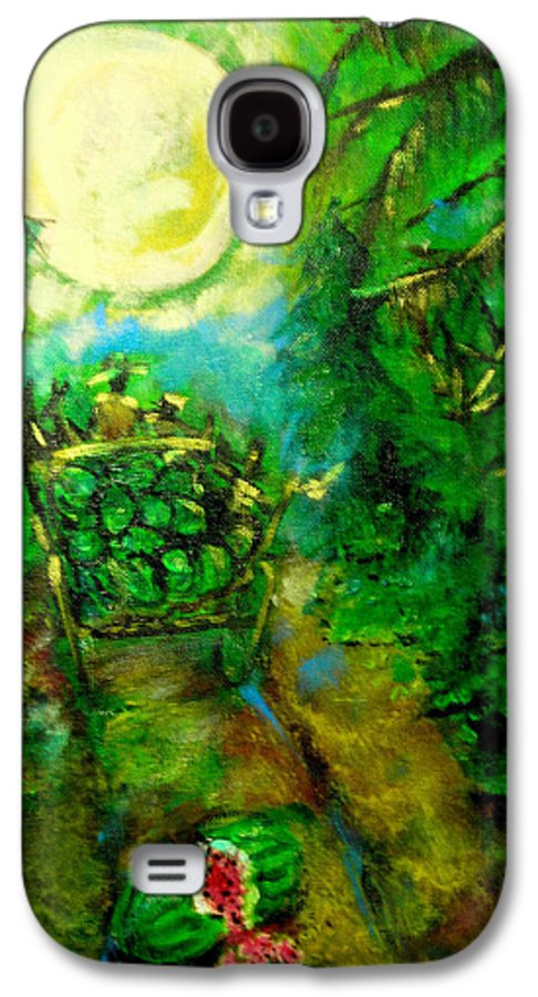 Watermelon Wagon Moon Galaxy S4 Case featuring the painting Watermelon Wagon Moon by Seth Weaver