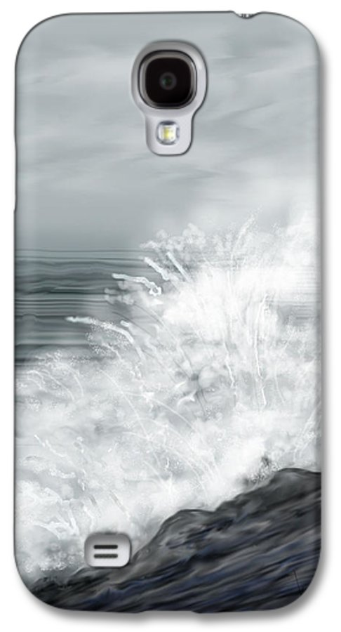 Seascape Galaxy S4 Case featuring the painting Waves Crashing The Rocks In Ireland by Anne Norskog