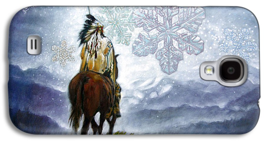 American Indian Galaxy S4 Case featuring the painting We Vanish Like The Snow Flake by John Lautermilch