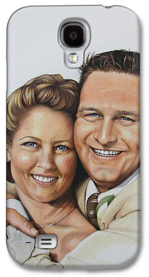 Wedding Portraits Galaxy S4 Case featuring the painting Wedding Portrait Jeremy N Katie by Joan Garcia