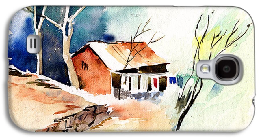 Nature Galaxy S4 Case featuring the painting Weekend House by Anil Nene
