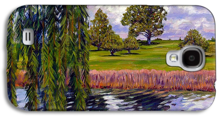 Landscape Galaxy S4 Case featuring the painting Weeping Willow - Brush Colorado by John Lautermilch