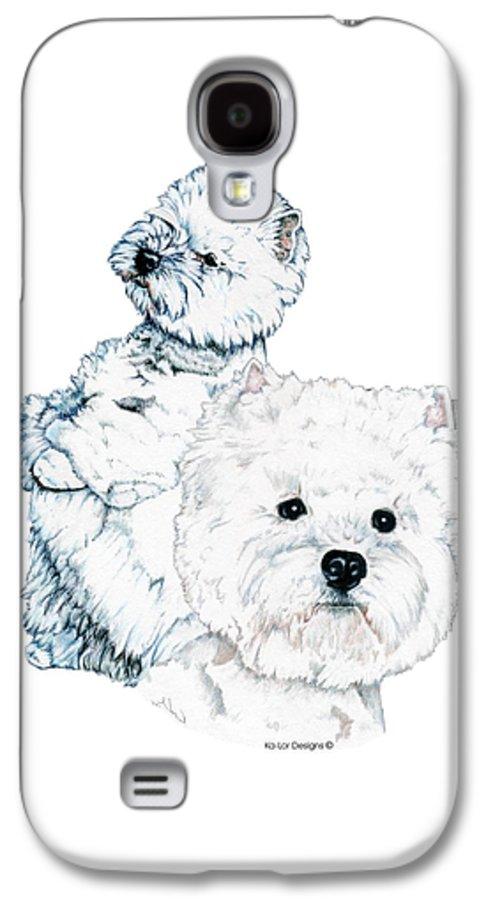 West Highland White Terrier Galaxy S4 Case featuring the drawing West Highland White Terriers by Kathleen Sepulveda