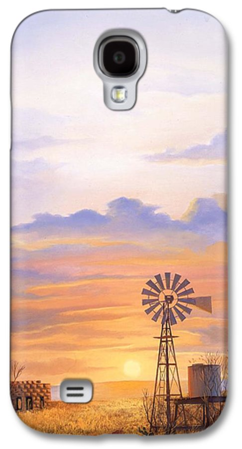 Windmill Galaxy S4 Case featuring the painting West Texas Sundown by Howard Dubois