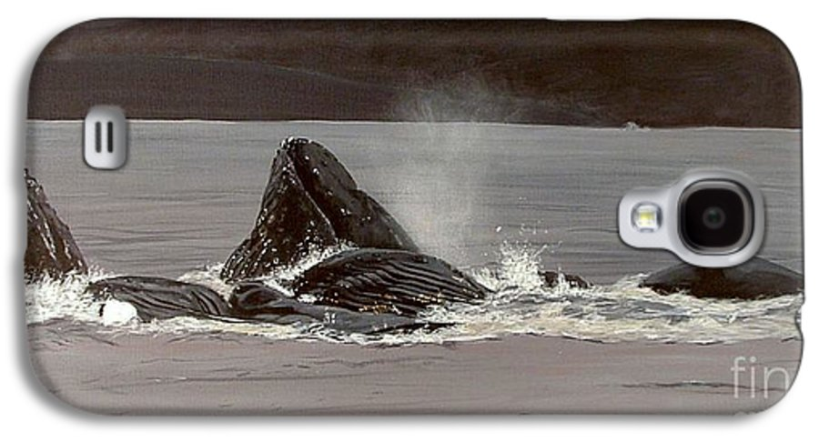 Whale Galaxy S4 Case featuring the painting Whales Feeding by Shawn Stallings