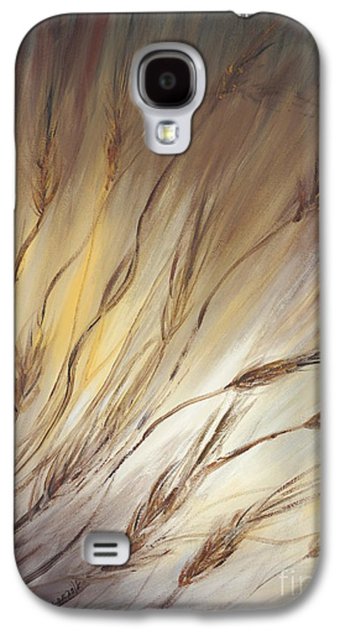 Wheat Galaxy S4 Case featuring the painting Wheat In The Wind by Nadine Rippelmeyer