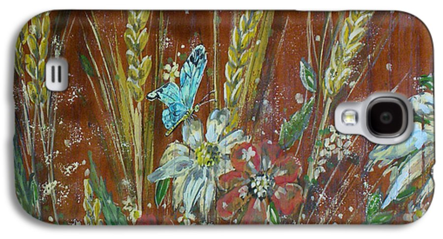 Flowers Galaxy S4 Case featuring the painting Wheat 'n' Wildflowers I by Phyllis Mae Richardson Fisher