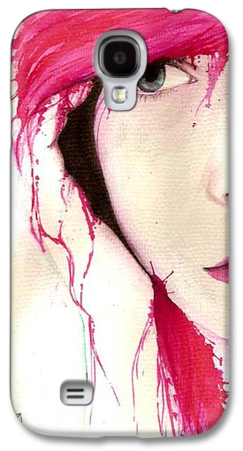 Pink Girl Galaxy S4 Case featuring the drawing Where Do You Think Beauty Goes by Freja Friborg