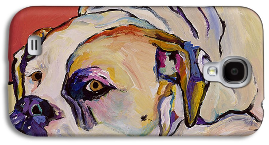 American Bulldog Galaxy S4 Case featuring the painting Where Is My Dinner by Pat Saunders-White